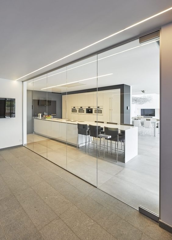 Glass Partition Ideas for Kitchen 07