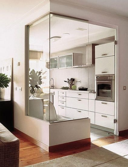 Glass Partition Ideas for Kitchen 11