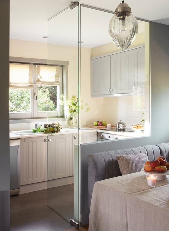 Glass Partition Ideas for Kitchen 12