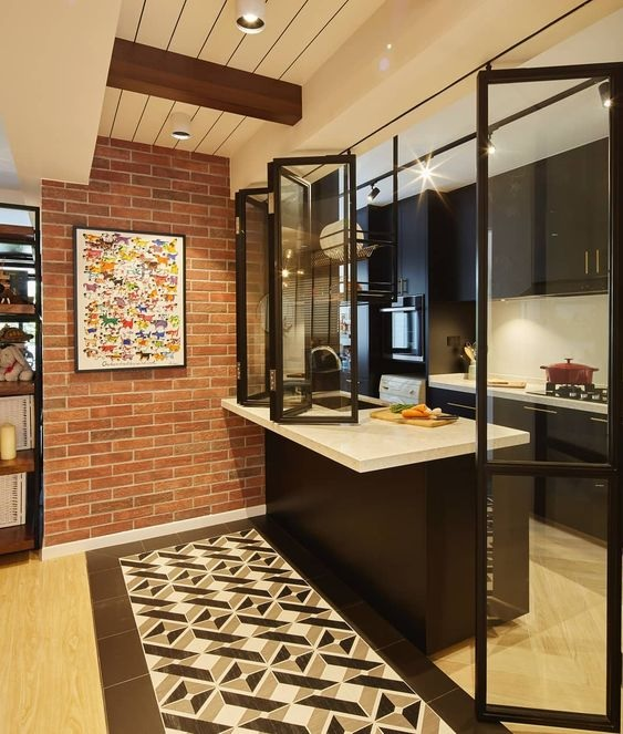 Glass Partition Ideas for Kitchen 13