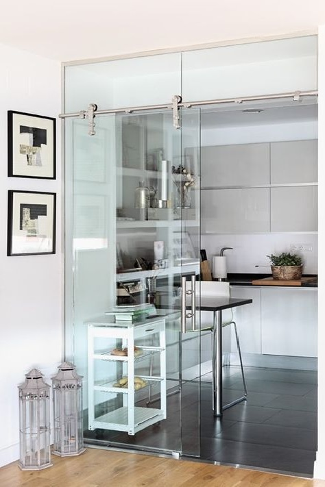 Glass Partition Ideas for Kitchen 14