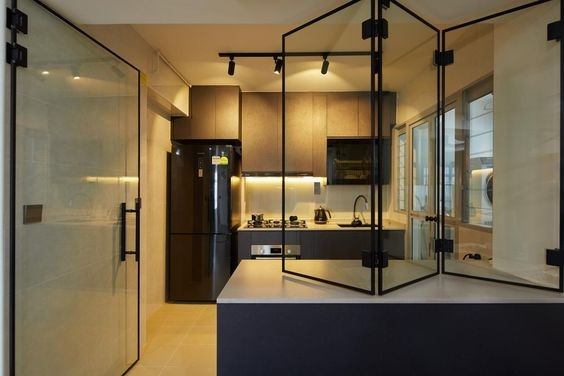 Glass Partition Ideas for Kitchen 24