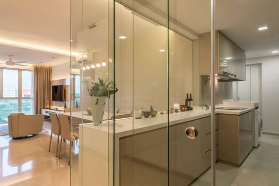 Glass Partition Ideas for Kitchen 30