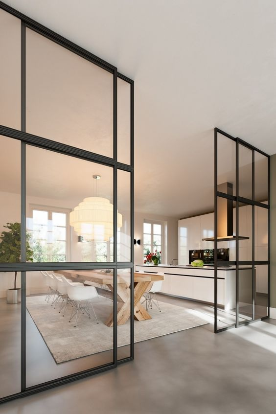 Glass Partition Ideas for Kitchen 31